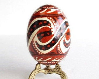 Trypillian hand painted batik style chicken egg Ukrainian Easter pysanka symbols of Vikings Pagans dating back o Neolithic times