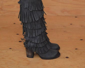 Black Gray Leather Knee High Boots With Unique Cutout Fringe Detail SZ 9