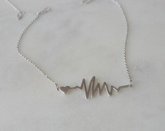 My Heart Beats for You. Silver Heartbeat Necklace. modern necklace. unique necklace. gift for new mother. ECG necklace. heartbeat symbol.