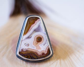 Agua Nueva Agate Ring, Sterling Silver Statement Ring, Drusy Ring - Collector Stone - Muse and Reverie - Size 8.75