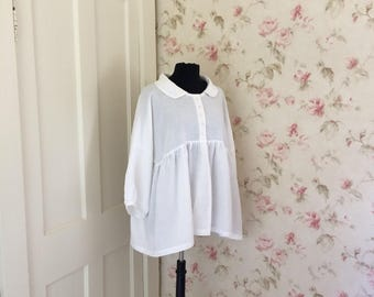 Soft White Linen Layering Top Jacket Romantic Puff Sleeve Baby Doll Peter Pan Collar Lagenlook Lightweight Linen Made To Order