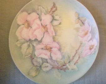 "Hand Painted Hutschenreuther 8"" Plate with Pink Blossoms on Green"