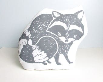 Raccoon Shaped Animal Pillow.  Hand Woodblock Printed. Pick your colors. Made to order.