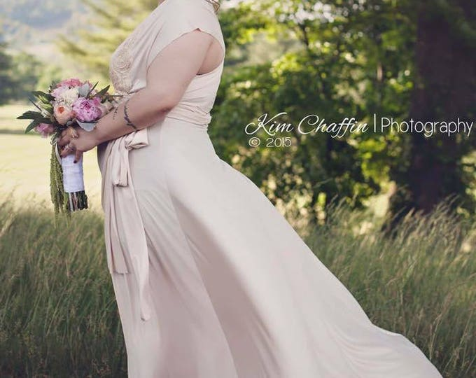 Crystal Cove Ivory Satin Octopus Convertible Wrap Gown- No train- Wedding, bridal, mismatched bridesmaids