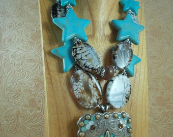 Cowgirl Necklace Set - Chunky Turquoise Howlite and Brown Fire Agate - Star Concho Pendant