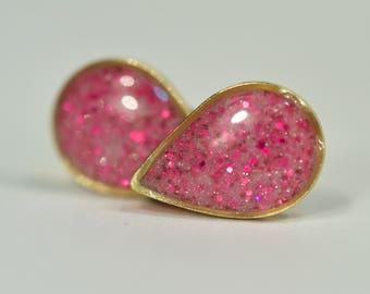Pink Glittery Teardrop Stud Earrings