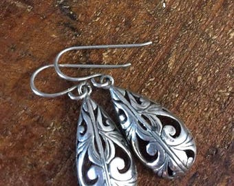 Sterling Silver Filigree Drop Earrings Vintage