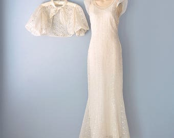 1930s Wedding Dress...Beautiful Ivory Sheer Organza Floral Embroidered Wedding Dress and Jacket