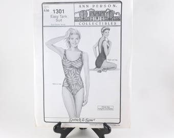 Stretch and Sew Easy Tank Bathing Suit Sewing Pattern 1301 Uncut Ann Person Collectibles 1991
