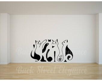 Cat Wall Decals Etsy - Custom vinyl wall decals cats