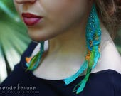 Felted Recycled Sari Silk Earrings, Tropical Waters | Bohemian Wearable Art