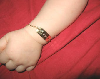 Custom Baby Jewelry Gold Baby ID Bracelet Baby Name Bracelet Personalized Baby Boy Bracelet Shower Gifts Newborn Baptism Gold Bracelet Girl