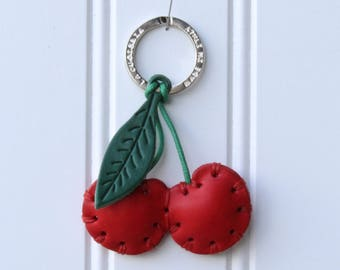 Leather keychain, cherry keychain, leather keyring, fruit keychain, food keychain, key chain, cherries, cherry, gift for her, cherries gift