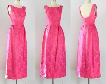 Vintage 1960's Fruit Punch Floral Silk Evening Dress