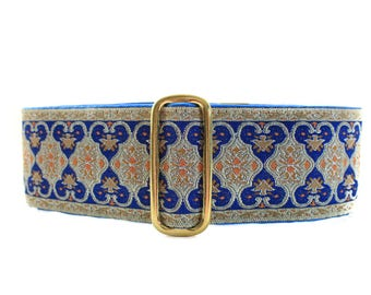 Blue Martingale Collar, 2 Inch Martingale Collar, Wide Dog Collar, Jacquard Martingale Dog Collar, Jacquard Dog Collar, Blue Dog Collar