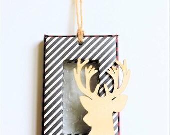 Red Buffalo Plaid/Black White Stripe Wooden Deer Head Silhouette Christmas Ornament/Wine Bottle/Gift Topper - Embossed Lightweight Ornament