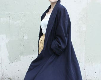 Vintage 1940's Wool Swing Coat // 40s 50s Navy Blue Wool Trapeze Coat // High Collar Coat