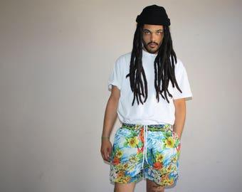 1990s Vintage Graphic Hawaiian Polo Sport Swim Trunks Men's Shorts - 90s VTG Swimming Shorts - 90s Clothing - MV0384