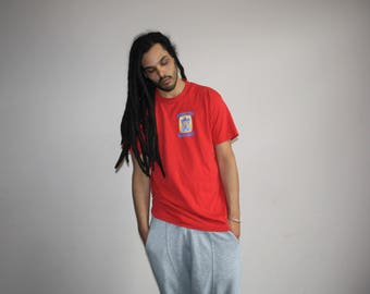 Vintage 90s Red Minimalist Graphic Athletic T Shirt - 1990s Graphic Tee - 90s Clothing - MV0488