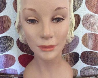 Vintage 1940s 1950s Mannequin Head Hat Display Authentic & Genuine Vintage Made Of Plaster Of Paris Is Numbered in back # 418