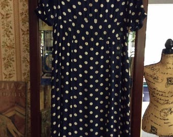 Vintage 1930s 1940s Dress Sheer Dark Blue  W/White Polka Dots Fabric Spring Summer Garment Sold As Is!