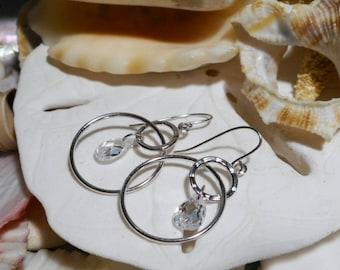 14k White Gold Diamonique CZ Briolette Dangle Earrings 1.5ctw 1.31g