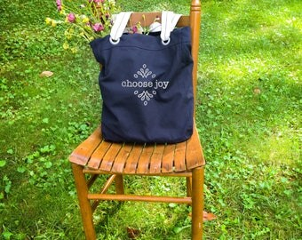 Choose joy canvas school bag navy blue, canvas school bag, bible study tote, Christian school teacher gift, inspirational gifts