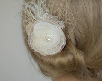 Wedding hair flower, Ivory Champagne bridal hair piece, Lace wedding headpiece, Wedding hair flower accessories, Bridesmaid hair flower