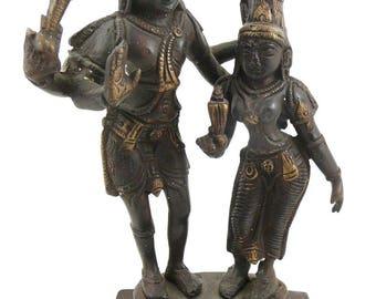 "BIG Vintage 1950s 60s Hindu Gilt Bronze VISHNU & Consort 9"" Figures Sculpture Figure STATUE"