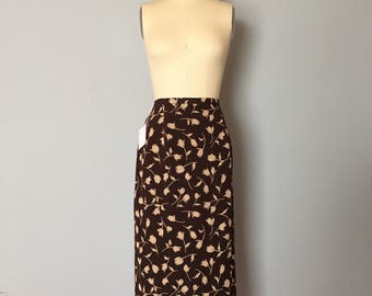 whimsical tulips silk maxi skirt / coffee brown silk wrap skirt / talbots silk wrap maxi skirt / s / m
