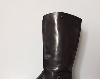 Etienne Aigner riding boots / black leather riding boots / equestrian tall leather boots / size 10