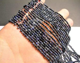 Dumortierite - 3 mm round beads -1 full strand - 133 beads - PG50