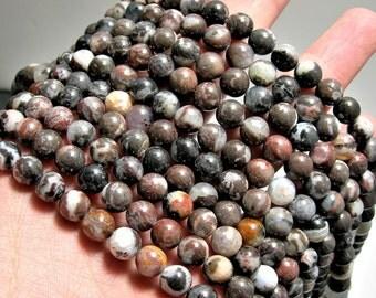 Mexican Black White Zebra Agate  - 8mm round beads - full strand - 49 beads -  RFG1541
