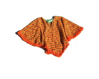Woven Poncho | 70s vintage bright orange zig zag rick rack v neck cropped fringe boho hippie folk women top one size osfm retro