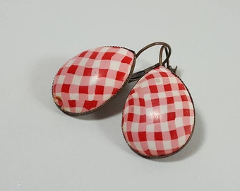Dangle drop earrings, red gingham earrings, red earrings, everyday earrings, red and white earrings, fashion red earrings, gift for girls,