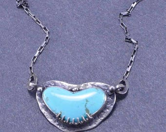 Turquoise Heart Necklace, Heart Necklace, Boho, Sterling Silver, Silversmith, Handmade