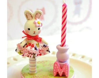 Bunny Cake Topper, 1st Birthday Cake Topper Girl, Finger Puppet, Baby Shower Cake Topper, Birthday Candle Cake Topper, Happy Birthday Cake