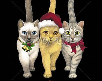 Meowy Christmas Cats Kittens Image Womens LONG SLEEVE T Shirt 15763