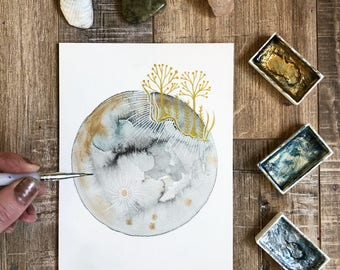 Celestial Watercolor // original painting // Audrey and the Aurora