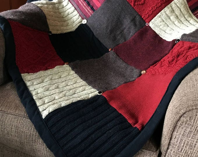 "Ready Now — ""Charcoal Fire"" Wool Sweater Quilt"