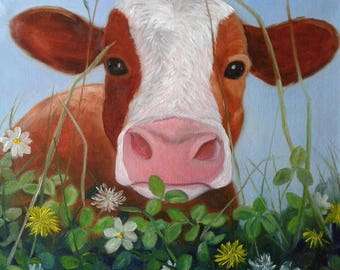 "Cow in Clover Painting Large 16"" X 16"" Canvas Brown and White Cow Oil Painting Farm Life Art Whimsical Cow Art Gallery Wrapped Karen Snider"
