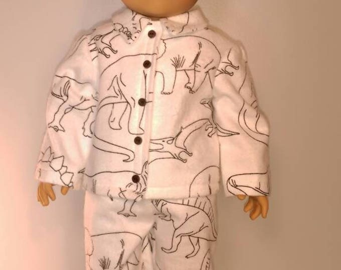 Dinosaurs coloring book style print boy doll pajamas fits 18 inch dolls like American girl or boy