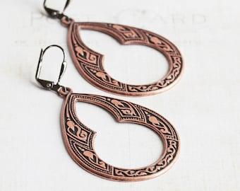 Copper Dangle Earrings, Big Drop Earrings on Gunmetal Hooks, Antiqued Copper Earrings, Boho Chic Jewelry
