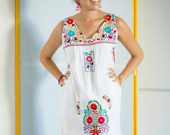 White Mexican Embroidered Mini Dress
