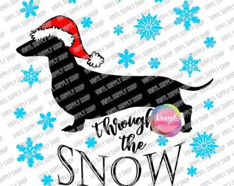 Dachshund Through the Snow Svg Commercial Use Holiday Cut File for Vinyl Cutting Machines, Funny Dog Silhouette with Santa Hat Weiner Dog