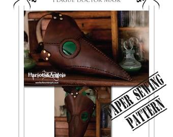 Plague Doctor Mask Leather pattern. Steampunk. Larp. Leatherwork pattern