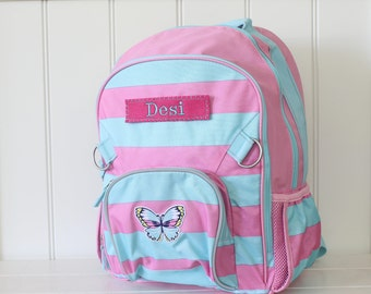 Large Backpack With Monogram (Fairfax) -- Pink/Aqua Rugby Stripe with Butterfly Patch