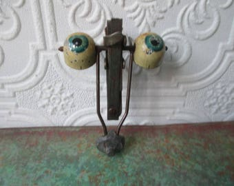 ANTIQUE DOLL EYES Turquoise Blue Metal Weighted Rocker for Collecting or Altered Art, Doll Repair Restoration Projects