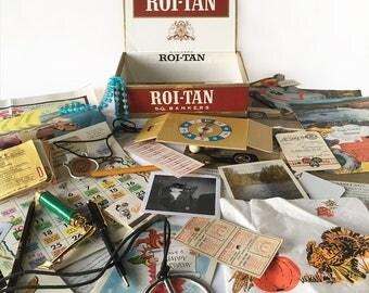 Vintage Cigar Box Full of 1960s Trinkets & Treasures - 1960s Memory Box, Baby Boomer or Generation X Memories