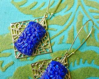 French Bleu // Vintage 1930s Blue Glass & Gold Earrings with Flowers, Art Deco Earrings Retro Gatsby Flapper Bridal Bohemian Victorian